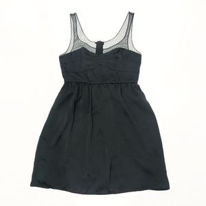 AEO Black Satin Sheer Strap Party Cocktail Dress